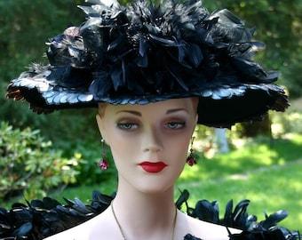 Edwardian Hat, Downton Abbey Hat, Kentucky Derby Hat, Ascot Hat, Titanic Hat, Somewhere Time Hat, Feather Hat, Del Mar Hat - Lady Elizabeth