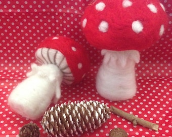 2 x Large 100% Wool Toadstools