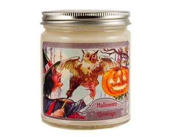 Halloween Candle, Scented Candle, Halloween Witch Candle, Vintage Halloween, Container Candle, Soy Candle, Halloween Decor