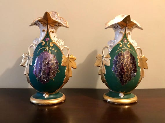 Antique Eton Hand Painted Grape China Vases