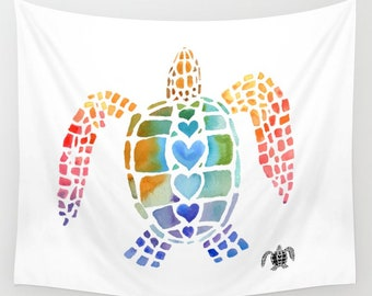 Sea Turtle Wall Tapestry, Fabric wall art, conservation, ecology, colorful sea turtles, dorm decor