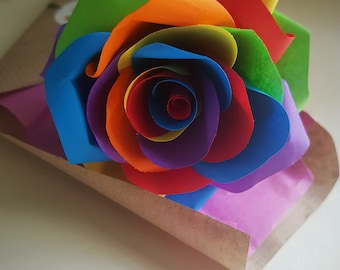 Rainbow rose, Single rose gift, Paper rose, Everlasting flower, First Anniversary, Thank you gift