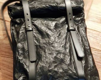 Backpack leather roll up leather backpack leather rucksack Total Black