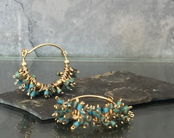 SALE . Boho Gemstone Earrings. Boho Earring. Turquoise Earrings. Blue Dangle Jewelry. Turquoise Cluster Earrings. 14k Goldfield Hoops.