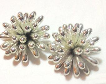 Vintage 80's Large Silvertone Cluster Earrings