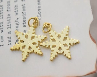 2 pcs sterling silver gold snowflake charm pendant , GY1