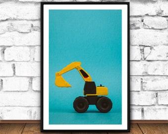 Excavator print, Nursery printable art, Nursery framed art, Nursery toys, Printable Kids Gift, Printable Kids Wall Art, Nursery Printable