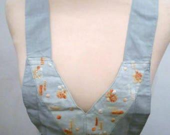 light blue 30s 40s vintage apron embroidered floral