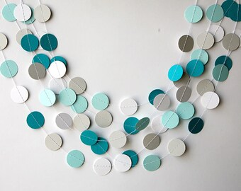 Teal white and gray paper garland, Backdrop, Wedding decoration, bridal shower, Birthday party decor, Paper circle garland, KC-1061