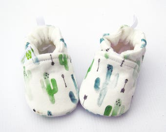 Organic Knits Cactus / All Fabric Vegan Soft Sole Baby Shoes / Made to Order / Babies Booties Shower Gift