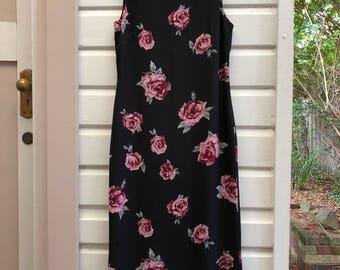 Vintage 90's Rose Print Black Maxi Summer Dress Size 8 MADE IN AUSTRALIA