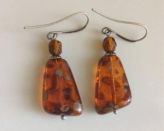 Long Amber Glass Earrings  Bohemian Earrings