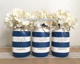 Nautical Theme, Ocean Themed Mason Jars, Painted Quart Ball Jars, Distressed Mason Jars, Baby Shower Centerpieces, Wedding Flower Vases