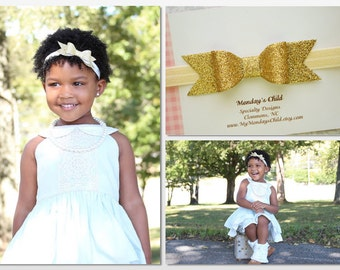 Gold Bow Headband, Gold Baby Bow, Gold Baby Headband, Gold Glitter Bow Headband, Glitter Bow Headband, Baby Bow, Baby Headband, Toddler Bow