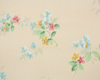 1930s Vintage Wallpaper by the Yard - Antique Floral Wallpaper with Tiny Pastel Pink Flowers on Golden-Tan