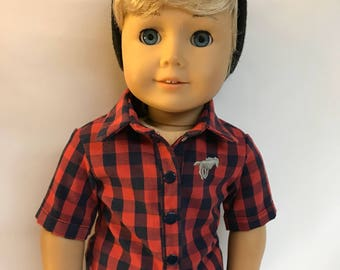 Navy Blue and Red Buffalo Plaid Button Down  18 inch boy doll clothes