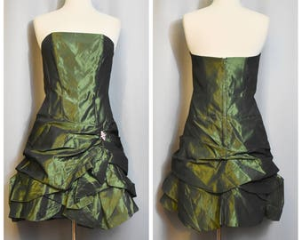 Jessica McClintock 90s Strapless Mini Party Dress with Aurora Borealis Accent