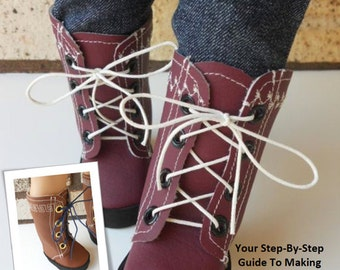 Pixie Faire Miche Designs Lace Up Boot Doll Shoe Pattern for 18 inch American Girl Dolls - PDF