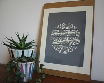 Abstract grey modernist lino print with paper stripe featuring Chine-collé