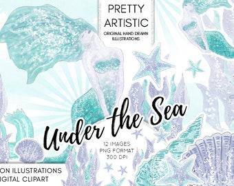 WATERCOLOR CLIPART, Mermaid, Under the sea, Mermaid Hand drawn Illustration, Watercolor Clipart, Fashion Illustration Sea Watercolor Clipart