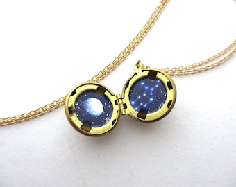 Tiny Virgo Oil-Painting, Secret Locket Constellation Necklace