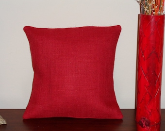 """Red Burlap Pillow Cover, 14"""" x 14"""" or Choose Your Size, Envelope Enclosure, With or Without Red and White Polka Dot Trim"""
