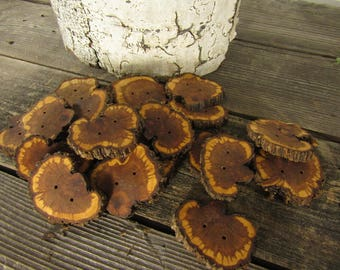 3 Gorgeous Sunburst Juniper Wooden buttons- (3009)