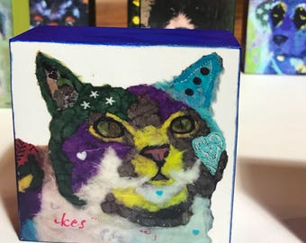 """Pop Art Cat Collectible """"Casanova"""" Giclee Mini Block Print 4x4 Square Torn Paper Art by Robin Panzer Holiday Gift or Stocking Stuffer"""