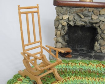 Miniature Platform ROCKING CHAIR   OOAK Victorian Inspired Miniature    Dollhouse Unfinished Rocking Chair Dollhouse Miniature
