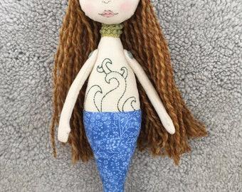 Handmade Mermaid Cloth doll Art doll Collectible doll Nursery decor Rag doll Handmade doll Fabric doll Decorative doll
