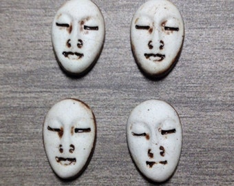 Set of Four Small Almond Ceramic Face Stone Cabochons in Pewter and Bone White