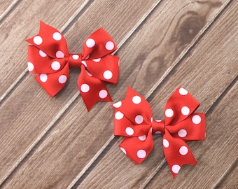 Red Polka Dot Hair Bows, Red Hair Bows, Minnie Hair Bows, School Hair Bows, School Bows, Pigtail Hair Bows, Toddler Hair Bows, Red Bows