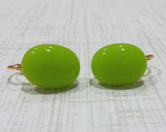 Lime Green Clip on Earrings, Bright Green Post Clip On Earrings, Non Pierced Earings, Lime Green Jewelry - Tara -7