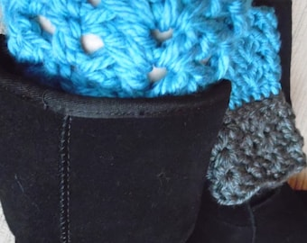 Dual Colored, Chunky Boot Cuffs - Blue and Grey, Small