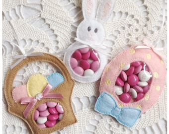 Baby Shower and Easter Candy Holder Machine Embroidery Set - Basket, Bunny, and Egg - Machine Embroidery Instant Download Design