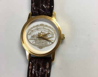 Vintage Delta Queen Steamboat Fashion Ladies Watch, Genuine Leather, 1890-1990 Commemorating 100th Year Anniversary, Gift Boxed