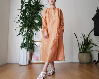 Jim Thompson thai silk dress / Copper dress / Minimal Silk Dress /burnt orange Long Dress / Roomy Comfy Simple Dress / Small dress