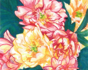 Red and Yellow peonies original watercolor floral flowers painting
