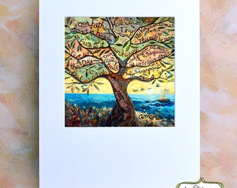 Our Father (The Lord's Prayer) Painted Prayer in Olive Tree, Colorful Catholic Christian Wall Art