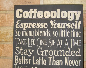 """COFFEEOLOGY - Coffee Sign / Kitchen Sign / Coffee Decor Wood Sign Kitchen Decor / Home Decor / Country Rustic Primitive / 12"""" x 12"""""""