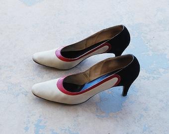 vintage 60s Color Block Heels - 1960s Mod White Black Leather High Heels Pumps Shoes Sz 8 39
