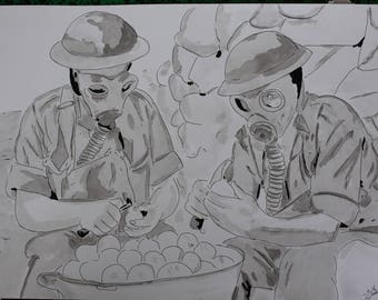 """drawing painting ink unusual """"chore of onions in the ditch"""" A3"""