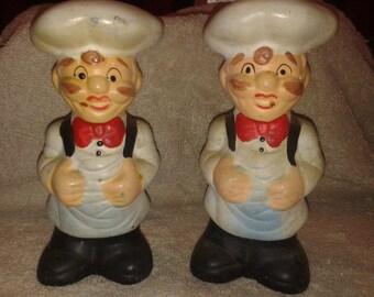 Vintage Ceramic Chef Salt and Pepper Shakers