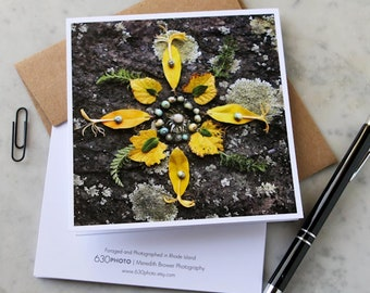 Sunshine n' Honey Mandala Note Card with 5x5 square envelope, blank inside