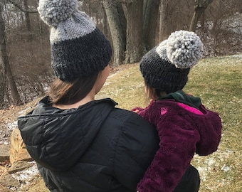 Knit Hat with Pom Pom, Winter Hat, Charcoal (Black) and Grey, Wool, Mini-Me Matching Set