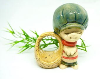 """Ceramic Figurine; Approx. 3.35""""h x 2.25""""w; Combination Glazed and Bisque; FREE SHIPPING !!!"""