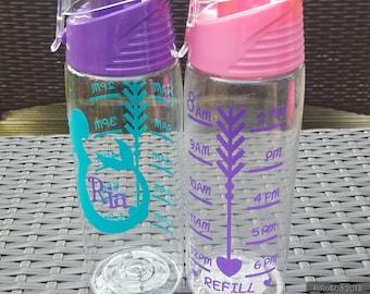 Personalised Water Bottle Kids Water Bottle Tracker Drinks Bottle Mermaid Water Bottle
