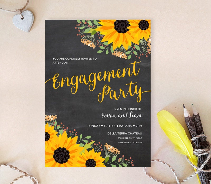 Sunflower engagement party invitations Chalkboard engagement