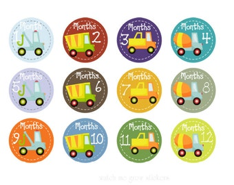 Baby Month Stickers Monthly Stickers Trucks Baby Milestone Stickers Baby Shower Gift