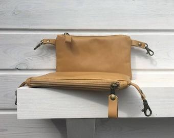 Leather Fanny Pack, Mustard Leather Belt Bag, Unisex Genuine Leather Waist Bag, Bicycle belt bag, zipper case, unique gift for men
